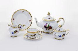 Немецкий чайный сервиз Weimar МЕЙСЕНСКИЙ БУКЕТ на 6 персон 21 предмет ( артикул МН 12551 В )