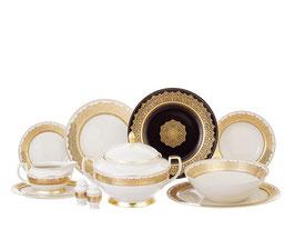 Столовый сервиз Falkenporzellan AGADIR BROWN Gold на 6 персон 26 предметов