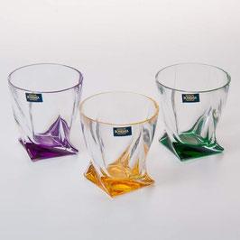 Набор стаканов для виски КВАДРО Цветные Bohemia Crystal 340 мл