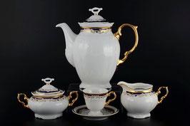 Кофейный сервиз Thun СИНИЙ УЗОР на 6 персон 15 предметов