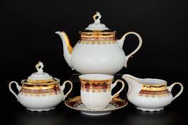 Чайный сервиз Thun КОНСТАНЦИЯ РУБИН ЗОЛОТО на 6 персон 15 предметов