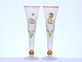 Набор свадебный из двух фужеров Bohemia Crystal ЛЕПКА СМАЛЬТА БЕЛАЯ 250 мл