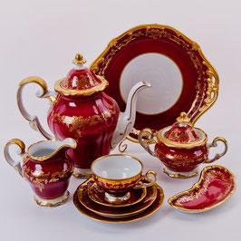 Немецкий кофейный сервиз Weimar ЮВЕЛ Красный на 6 персон 15 предметов ( артикул МН 20658 В )