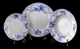 Набор тарелок для сервировки стола СИНИЙ Bernadotte 18 штук