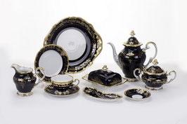 Немецкий чайный сервиз Weimar ЮВЕЛ СИНИЙ на 12 персон 54 предметов ( артикул МН 27958 В )