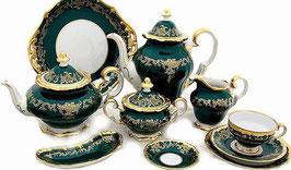 Немецкий чайный Сервиз Weimar ЮВЕЛ Зеленый  на 6 персон 31 предмет ( артикул МН 20666 В )