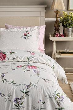 Постельное Белье VALERON SATIN  2 спальное CECIL бело-розовый