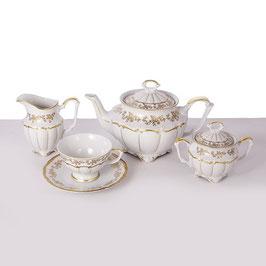 Чайный сервиз МАРИЯ ТЕРЕЗА БЕЛАЯ Bavarian Porcelain на 6 персон 15 предметов