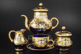 Чайный сервиз ЛЕПКА СМАЛЬТА СИНЯЯ на 6 персон 15 предметов