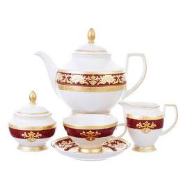 Чайный сервиз Falkenporzellan ALENA 3D BORDEAUX GOLD CONSTANZA на 6 персон 15 предметов