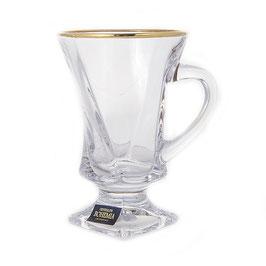 Набор кружек для кофе КВАДРО ГОЛД Bohemia Crystal на 6 персон