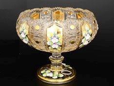 ХРУСТАЛЬ С ЗОЛОТОМ ваза для конфет овальная 20 см