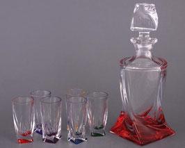 Набор для водки КВАДРО ЦВЕТНОЙ Bohemia Crystal  7 предметов
