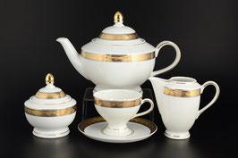 Чайный  сервиз ЯНА ЗОЛОТАЯ ЛЕНТА Thun на 6 персон 15 предметов
