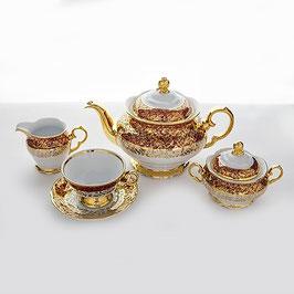 Чайный сервиз Carlsbad Лист Красный на 6 персон 15 предметов