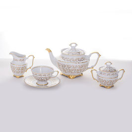 Чайный сервиз  Bavaria ЛИСТ БЕЛЫЙ на 6 персон 15 предметов