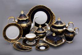 Немецкий чайный сервиз Weimar СИМФОНИЯ ЗОЛОТАЯ КОБАЛЬТ на 12 персон 55 предметов ( артикул МН 107 В )