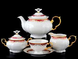 Чайный  сервиз Thun КРАСНЫЙ УЗОР на 6 персон 15 предметов