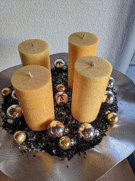 Stearinkerzen (4 gelb und 3 elfenbein) 135 x 64mm