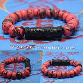 R34 . Powder Butterfly Amulet  Bracelet