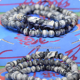KM61/01 , Temple Bead Necklace with Rolled Amulet