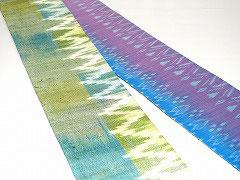 HAN1503タイシルク黄緑白波柄絣半幅帯