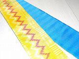 HAN1485 タイシルク黄白ライン赤白波柄絣半幅帯