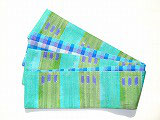 特価セール/HAN1565 タイシルク黄緑水色青点絣半幅帯