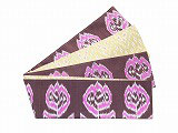 HAN1448 タイシルク濃紫ピンク白花柄絣半幅帯