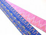 HAN1157 タイシルク黄ピンク青絣半幅帯