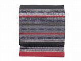 NAGO319 タイコットン紺黒赤白絣縞柄名古屋帯