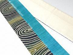 特価セール/HAN1419 麻バティック黒緑白波柄タイシルク青白絣繋半幅帯