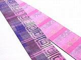 HAN1191 タイシルクピンク紫白□柄絣
