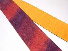 HAN1133-2 麻バティック紫エンジ赤斜め柄半幅帯