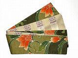 特価セール/HAN1493 麻バティック南国花柄半幅帯