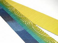 特価セール/HAN1417麻バティック黄緑紺青斜め柄繋半幅帯