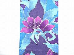 NAGO309 タイ麻バティック紫系南国花柄名古屋帯