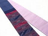 HAN1203 タイコットン紺紫赤白絣縞柄半幅帯