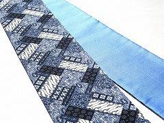 特価セール/HAN1434コットンバティック紺青白斜め□柄半幅帯