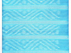 NAGO306タイシルク水色白菱柄ライン絣名古屋帯