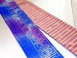 HAN1544 タイシルクピンク紫青白□柄絣半幅帯