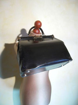 Doctor's bag cuir noir 50's