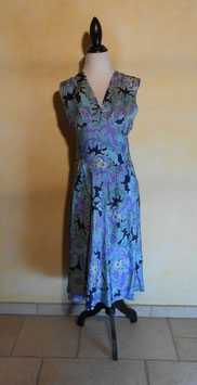 Robe power flower bleue 70's T.36