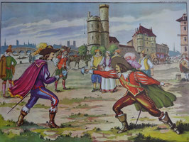 """Affiche scolaire MDI """"Duel au temps de Richelieu/Richelieu et Louis XIII au siège de la Rochelle"""""""