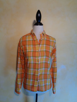 Chemise carreaux orange 70's T.38
