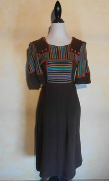 Robe laine marron 70's T.36