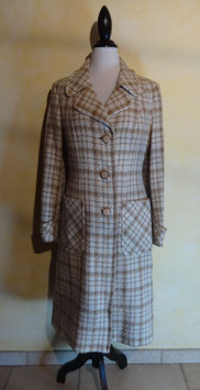 Manteau carreaux beige 70's T.36