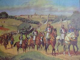 """Affiche scolaire MDI """"départ pour la croisade/ le chateau fort est attaqué"""""""