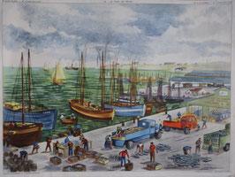 """Affiche pédagogique """"le port de pêche - le travail dans la forêt"""""""