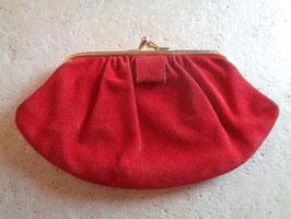 Porte monnaie daim rouge 60's